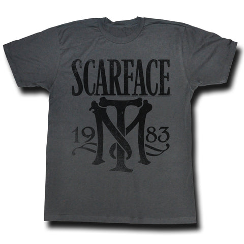 Scarface Adult S/S T-Shirt - Symbol - Heather Black Heather