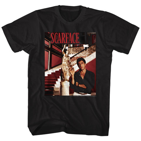 Scarface Adult S/S T-Shirt - Statue Stairs - Solid Black