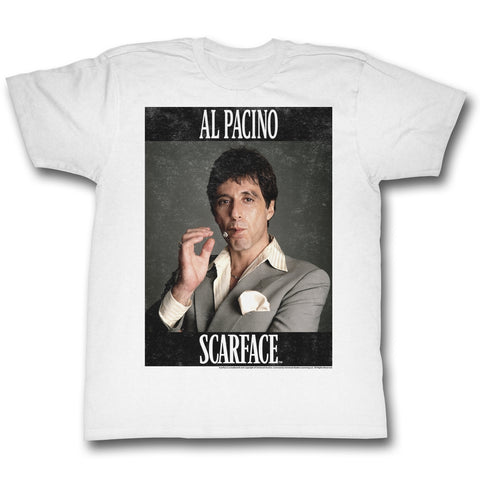 Scarface Adult S/S T-Shirt - Pacino - Solid White