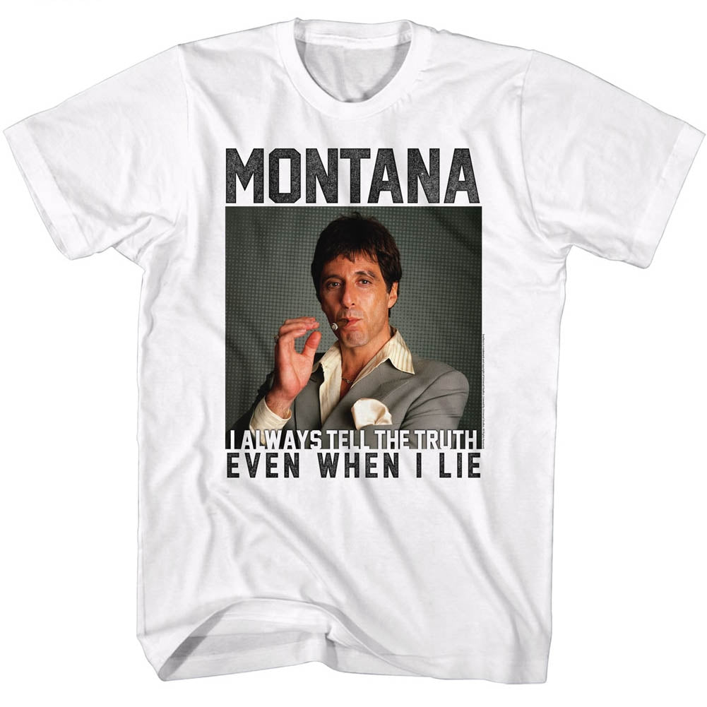 Scarface Mens S/S T-Shirt - Montana - Solid White