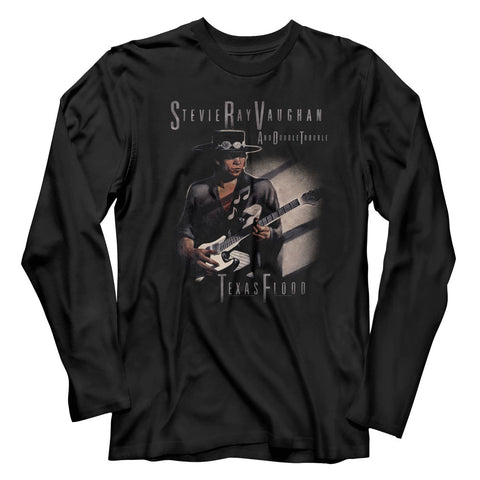 Stevie Ray Vaughan Adult L/S T-Shirt - Texas Flood Too - Solid Black