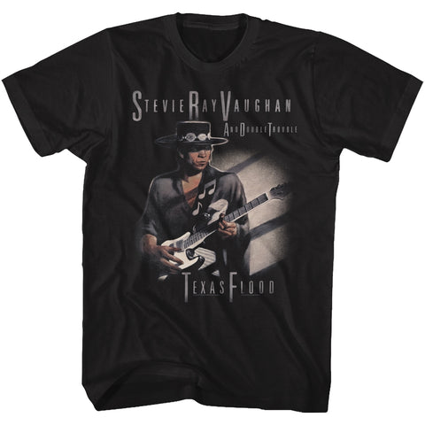 Stevie Ray Vaughan Adult S/S T-Shirt - Texas Flood Too - Solid Black