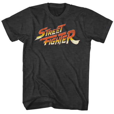 Street Fighter Adult S/S T-Shirt - Logo - Heather Black Heather