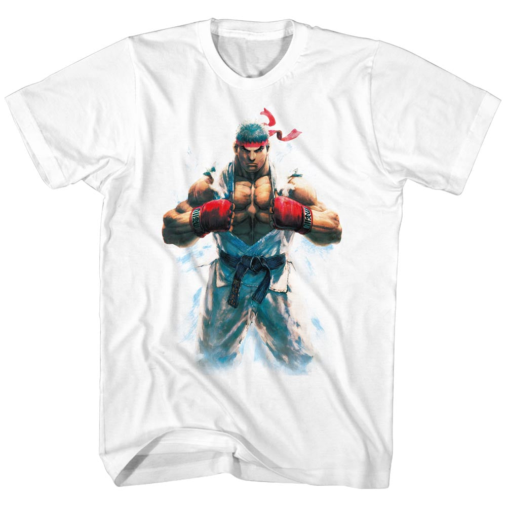 Street Fighter Mens S/S T-Shirt - Ryu - Solid White