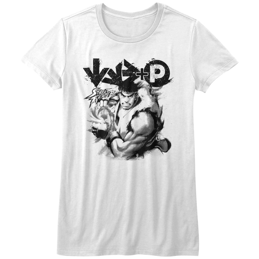 Street Fighter Girls Juniors S/S T-Shirt - Hadouken - Solid White
