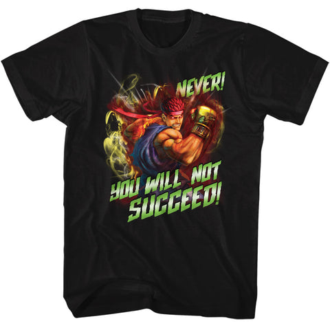 Street Fighter Adult S/S T-Shirt - Never Succeed - Solid Black