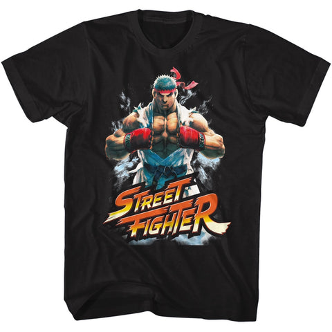 Street Fighter Adult S/S T-Shirt - Fistbump - Solid Black