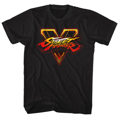 Street Fighter Adult S/S T-Shirt - Sfv Logo - Solid Black