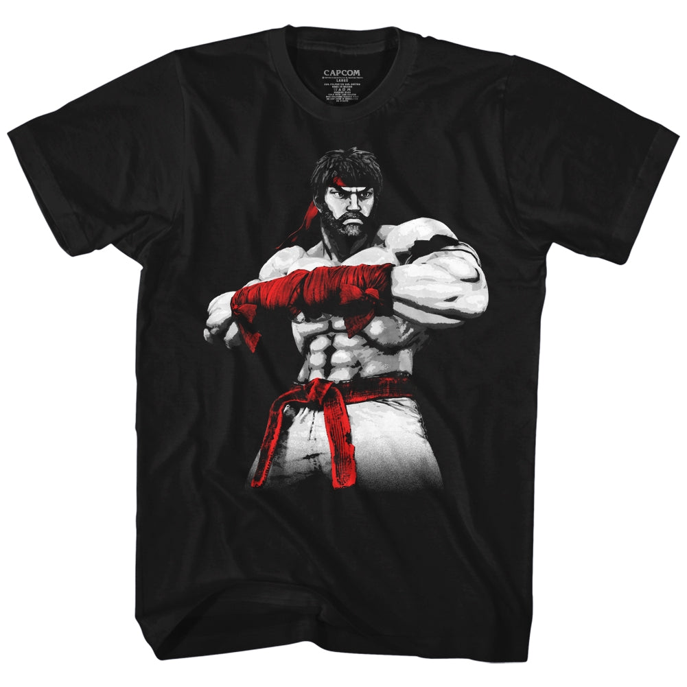 Street Fighter Mens S/S T-Shirt - Hot Ryu2 - Solid Black