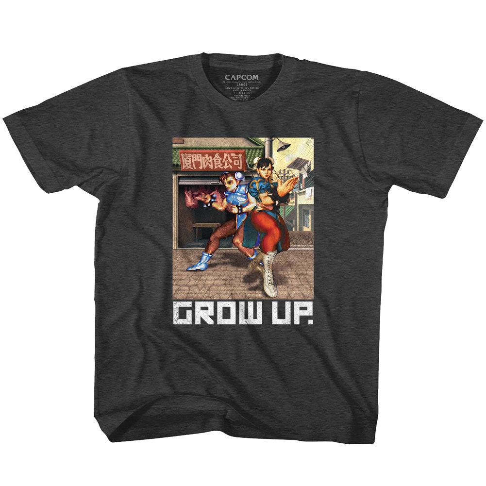 Street Fighter Youth S/S T-Shirt - Grow Up - Heather Black Heather