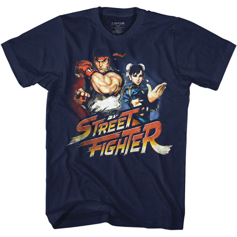 Street Fighter Adult S/S T-Shirt - Ryuchunli - Solid Navy