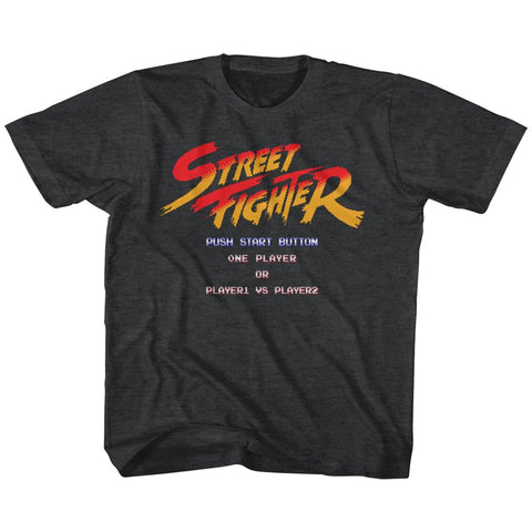 Street Fighter Toddler S/S T-Shirt - Start Screen - Heather Black Heather