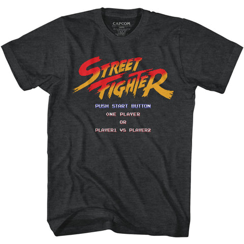Street Fighter Adult S/S T-Shirt - Start Screen - Heather Black Heather