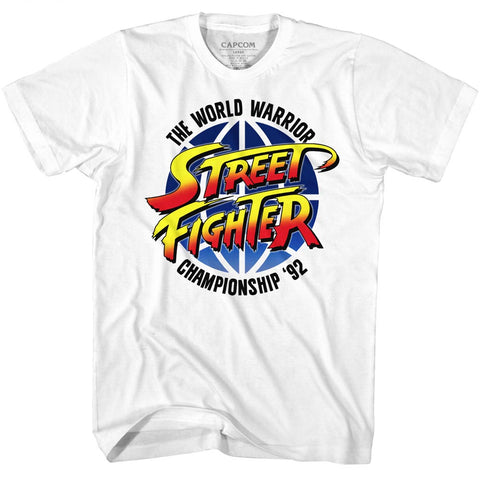 Street Fighter Adult S/S T-Shirt - World Warrior - Solid White