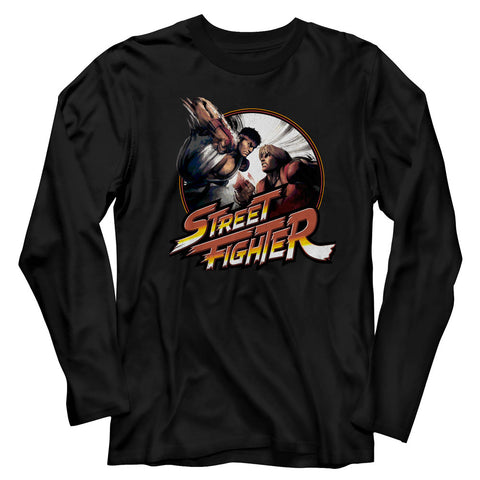 Street Fighter Adult L/S T-Shirt - Punchy - Solid Black