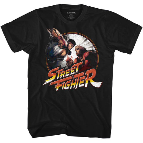 Street Fighter Adult S/S T-Shirt - Punchy - Solid Black