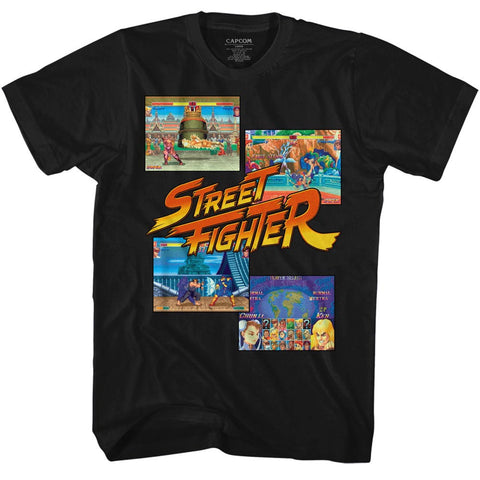 Street Fighter Adult S/S T-Shirt - Multihit2 - Solid Black