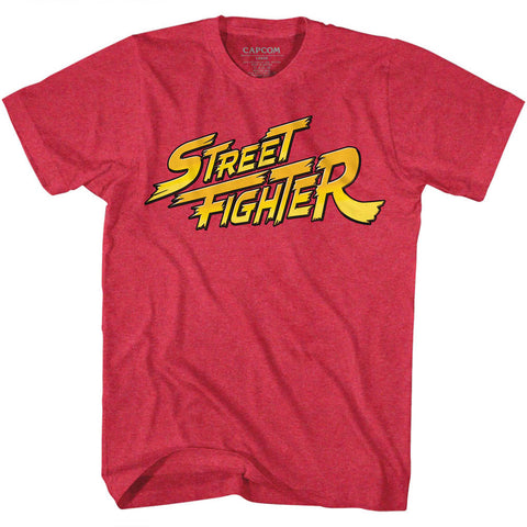 Street Fighter Adult S/S T-Shirt - Red Yellow Logo - Heather Cherry Heather