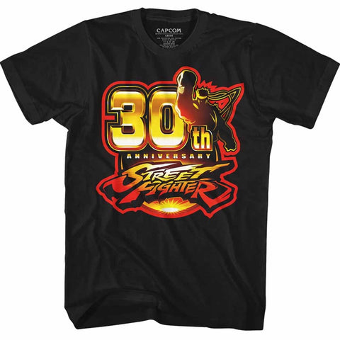 Street Fighter Adult S/S T-Shirt - Sf30 - Solid Black