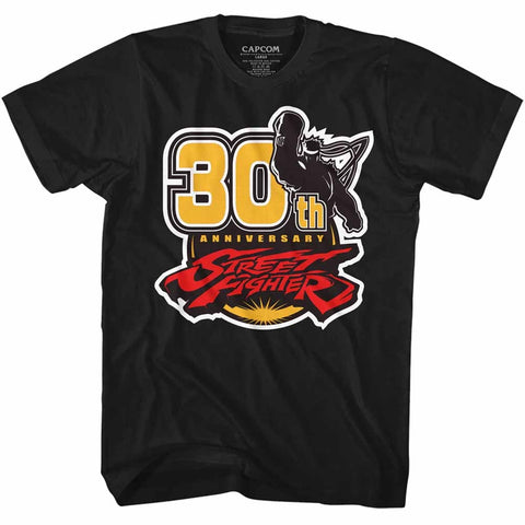 Street Fighter Adult S/S T-Shirt - 30Th - Solid Black