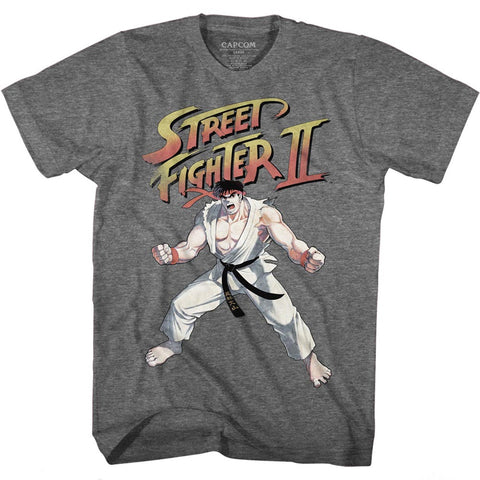 Street Fighter Adult S/S T-Shirt - Ryu - Heather Graphite Heather