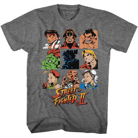 Street Fighter Adult S/S T-Shirt - Sf2Shdrcast - Heather Graphite Heather
