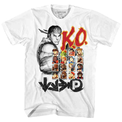 Street Fighter Adult S/S T-Shirt - Ko2 - Solid White