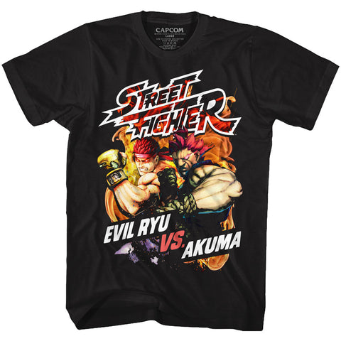 Street Fighter Adult S/S T-Shirt - Street Fire - Solid Black