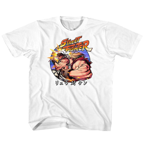Street Fighter Youth S/S T-Shirt - Ryu Vs Ken - Solid White