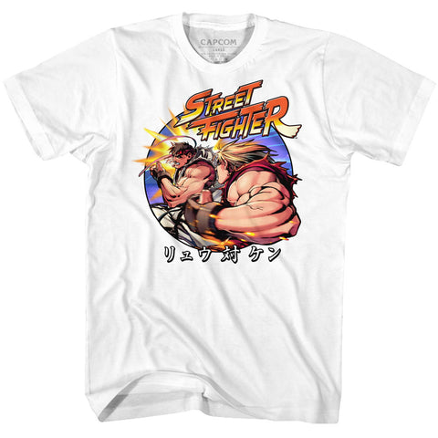 Street Fighter Adult S/S T-Shirt - Ryu Vs Ken - Solid White