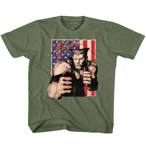 Street Fighter Toddler S/S T-Shirt - Guile With Flag - Solid Military Green