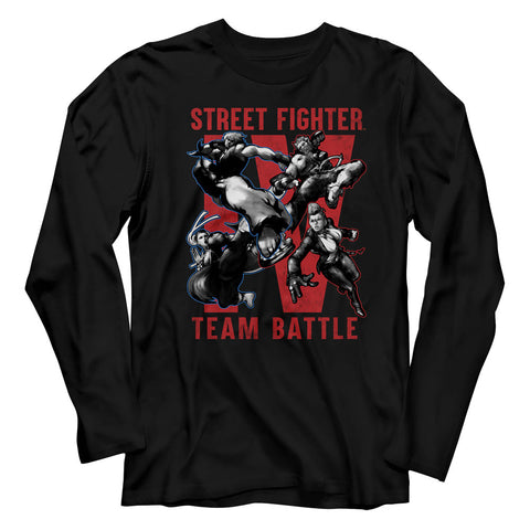 Street Fighter Adult L/S T-Shirt - Team Battle - Solid Black