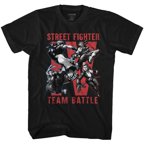 Street Fighter Adult S/S T-Shirt - Team Battle - Solid Black