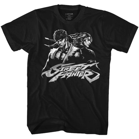 Street Fighter Adult S/S T-Shirt - Two Dudes - Solid Black