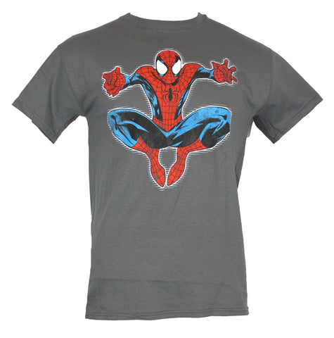 Spider-Man (Marvel Comics) Mens T-Shirt - Comic Style Crouch Jumping Image