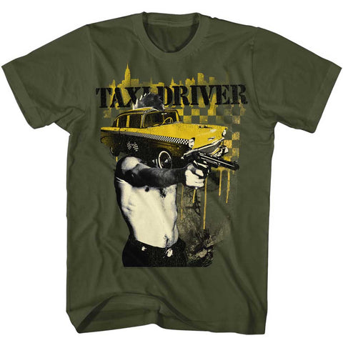 Taxi Driver Adult S/S T-Shirt - Taxi Face - Solid Military Green
