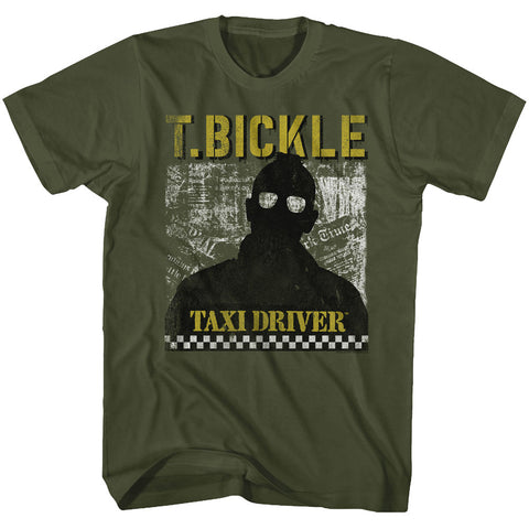 Taxi Driver Adult S/S T-Shirt - T. Bickle - Solid Military Green