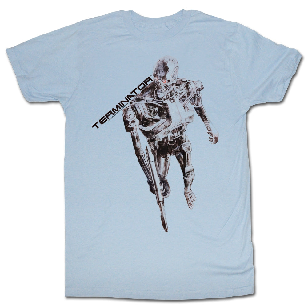 Terminator Mens S/S T-Shirt - Sketchy Terminator - Solid Light Blue