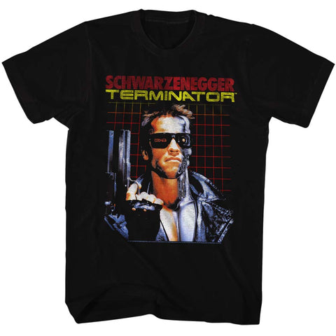 Terminator Adult S/S T-Shirt - Grid - Solid Black