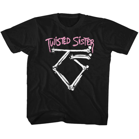 Twisted Sister Youth S/S T-Shirt - Bone Logo - Solid Black