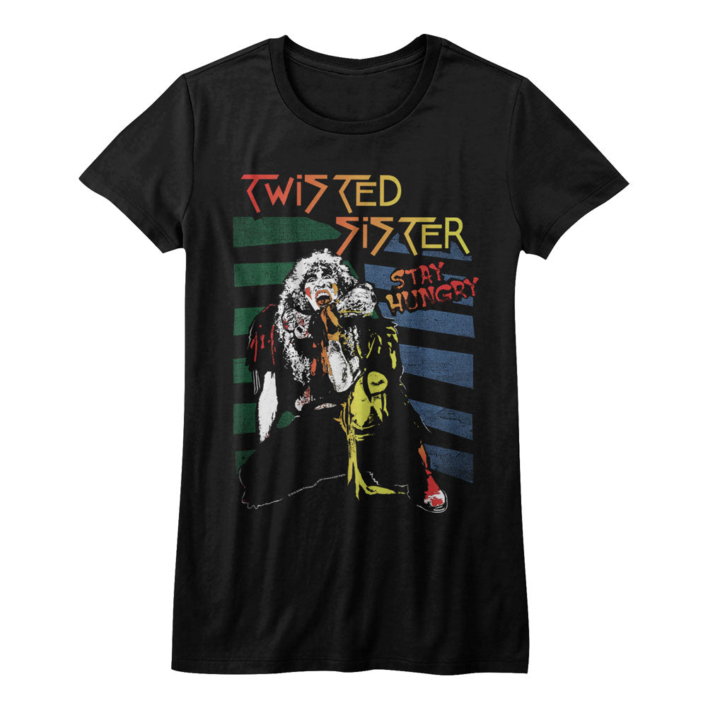 Twisted Sister Girls Juniors S/S T-Shirt - Stay Hungry - Solid Black