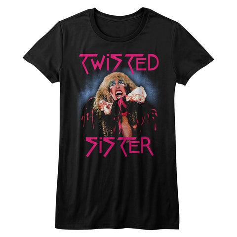 Twisted Sister Juniors S/S T-Shirt - Twisted Dee - Solid Black