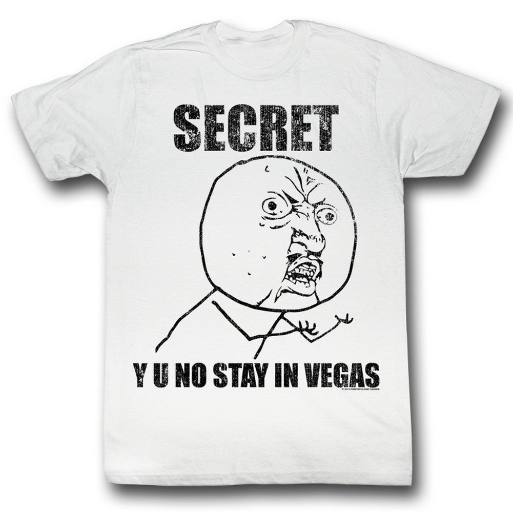 Y U No Mens S/S T-Shirt - Secret - Solid White