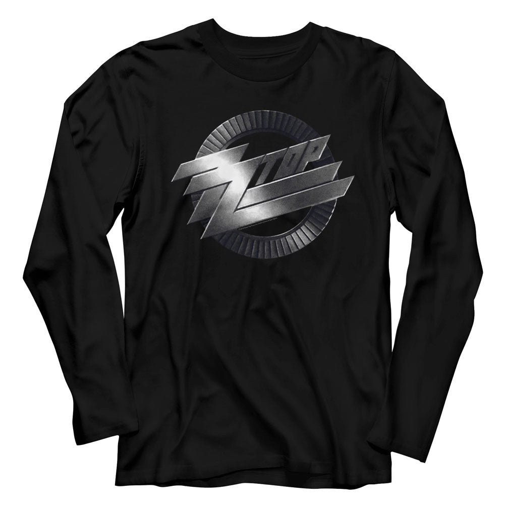ZZ Top Mens L/S T-Shirt - Metal Logo - Solid Black