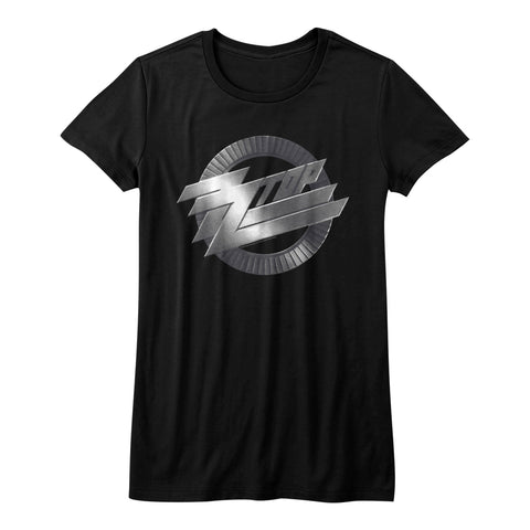 ZZ Top Juniors S/S T-Shirt - Metal Logo - Solid Black