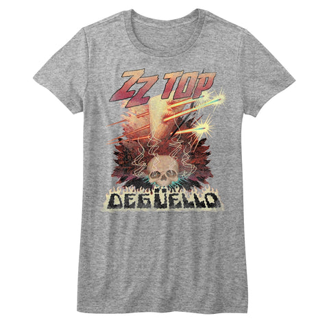 ZZ Top Juniors S/S T-Shirt - Deguello - Heather Gray Heather
