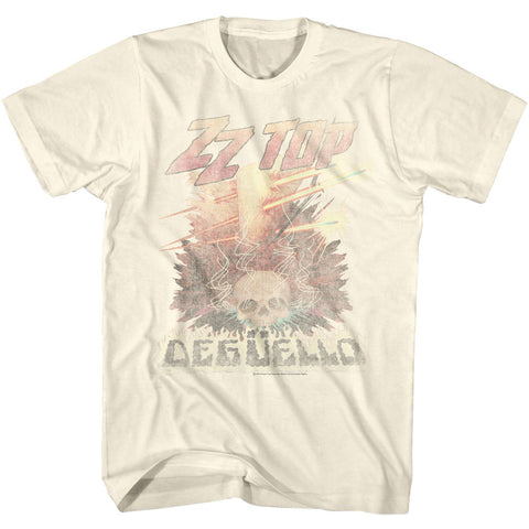 ZZ Top Adult S/S T-Shirt - Deguello Fade - Solid Natural