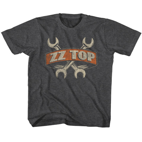 ZZ Top Toddler S/S T-Shirt - Wrenches - Heather Black Heather