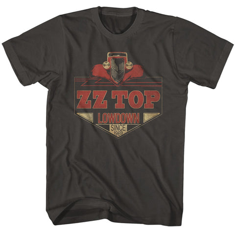 ZZ Top Adult S/S T-Shirt - Lowdown - Solid Smoke