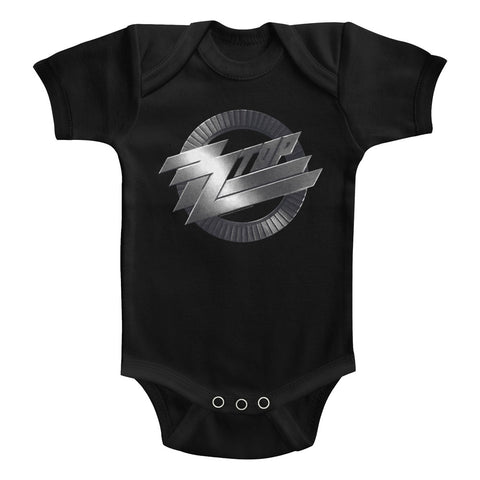 ZZ Top Infant S/S Bodysuit - Metal Logo - Solid Black